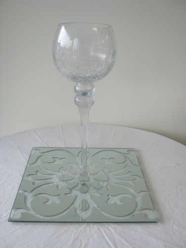 Patterned Mirror Tile and Glass Goblet